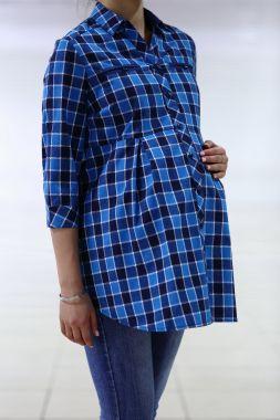 Рубашка. фланель клетка Синий- голубой 030 VILENA