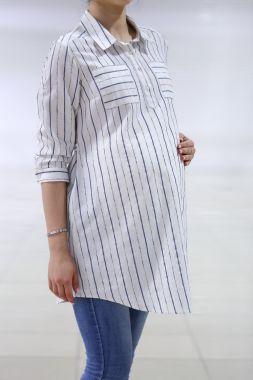 Рубашка-туника лён полоска айвори 9401 Fujin Турция